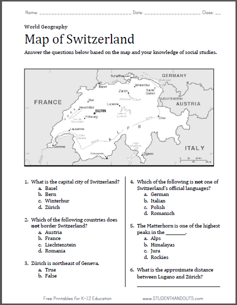 Switzerland map worksheet free to print pdf file with six map of switzerland worksheet gumiabroncs Image collections