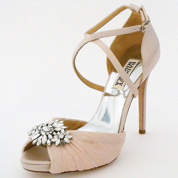 8b9b5dce13cd Badgley Mischka Cacique Wedding Shoes. Soft pink bridal shoes combine  vintage glamour with modern day bling in these spectacular heels.