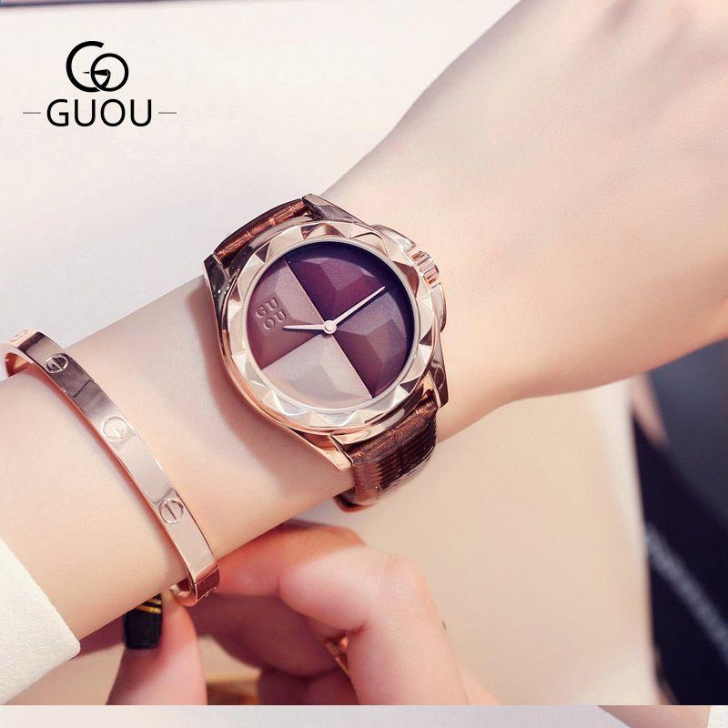 1ca706720f1e7 GUOU Novo Design Vestido Relógios Das Mulheres Pulseira De Couro Genuíno Relógio  De Quartzo À Prova