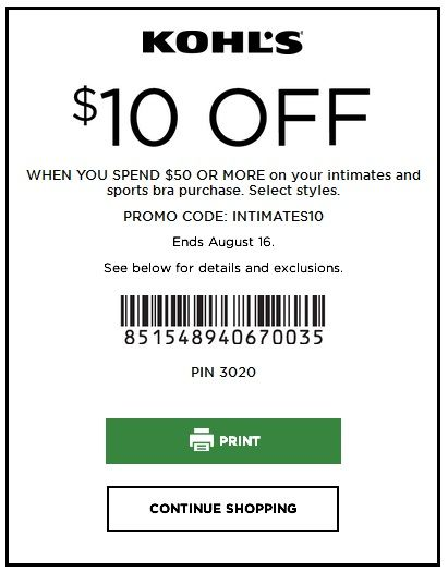 image regarding Victoria Secret 10 Off Bra Printable Coupon named KOHLS COUPON $10 OFF $50+ INTIMATES In just-Retail outlet AND On the net