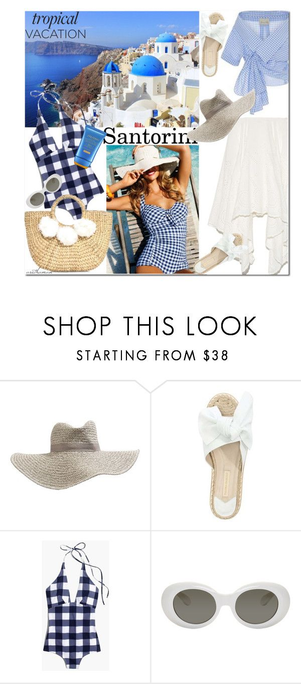 """Summer Series: Santorini"" by arethaman ❤ liked on Polyvore featuring Topshop, Paloma Barceló, Madewell, Acne Studios and Shiseido"