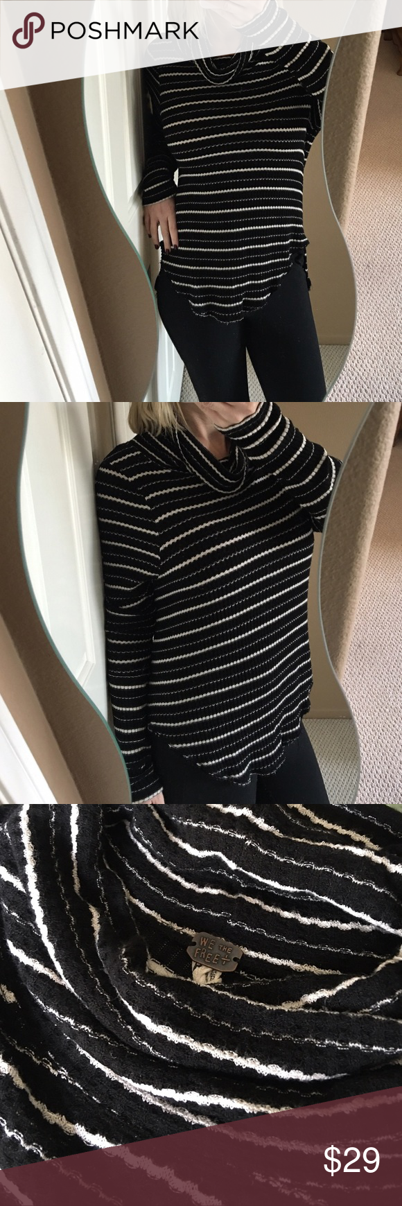 ✨We The Free Cowlneck Thermal Long Sleeved Top✨ Super cute, comfy, and chic We the Free by Free People thermal top! Ultra soft material so it feels amazing on! Black and white striped, Rayon/viscose/spandex blend so there's nice stretch to it. Falls a little lower in back. Cowlneck style. In fabulous condition! ❤️ Free People Tops