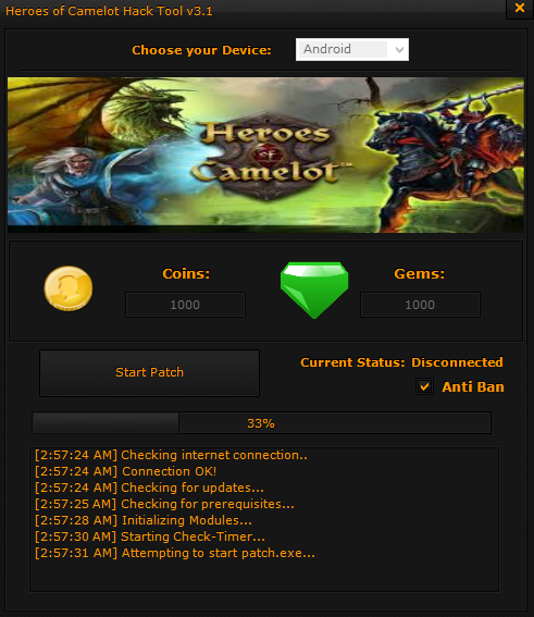 Heroes of Camelot Hack tool Get Unlimited Gold and Gems[100