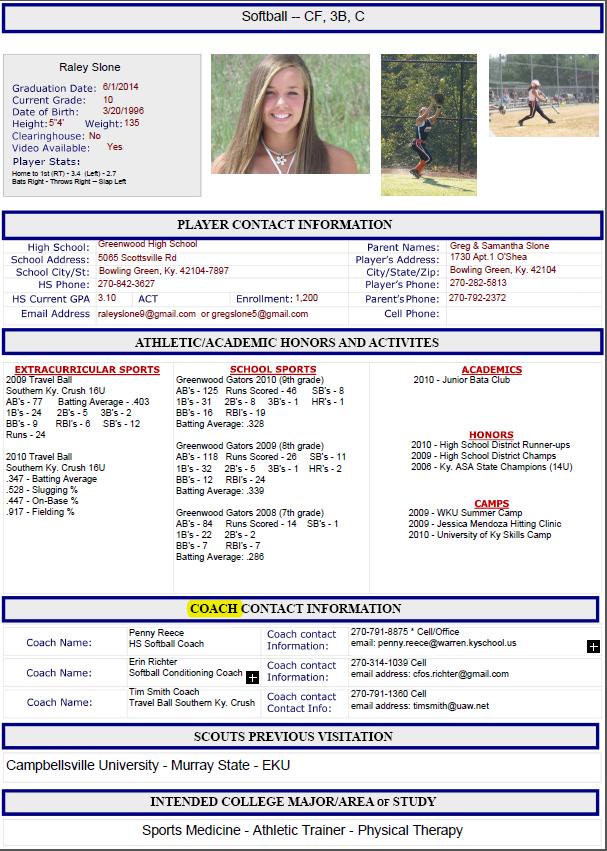 sample athletic recruiting resume