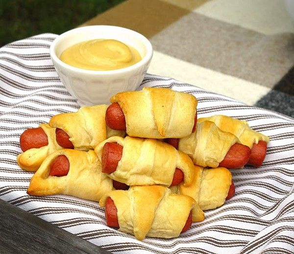 only at grandma's- pigs in a blanket ( big franks of course ;) )