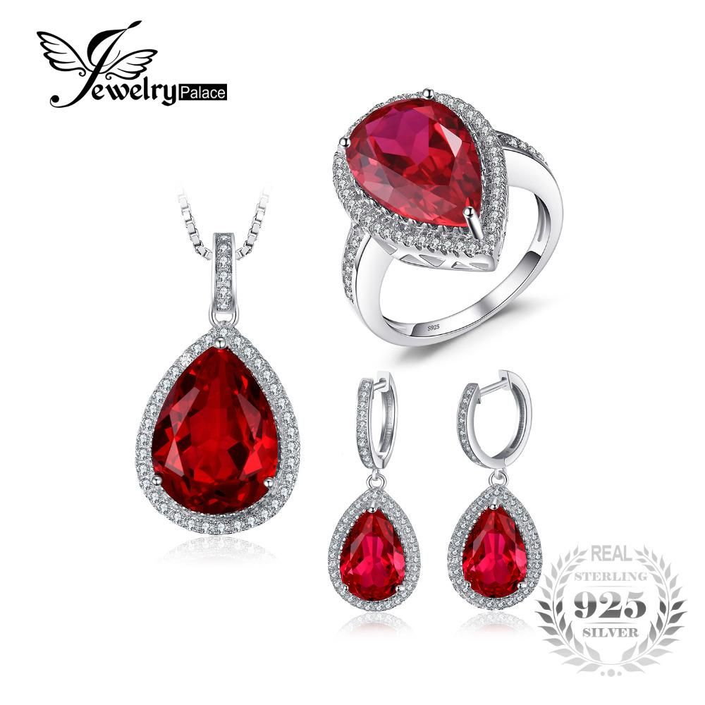 Jwewelypalace pear shape pigeon blood created ruby s sterling