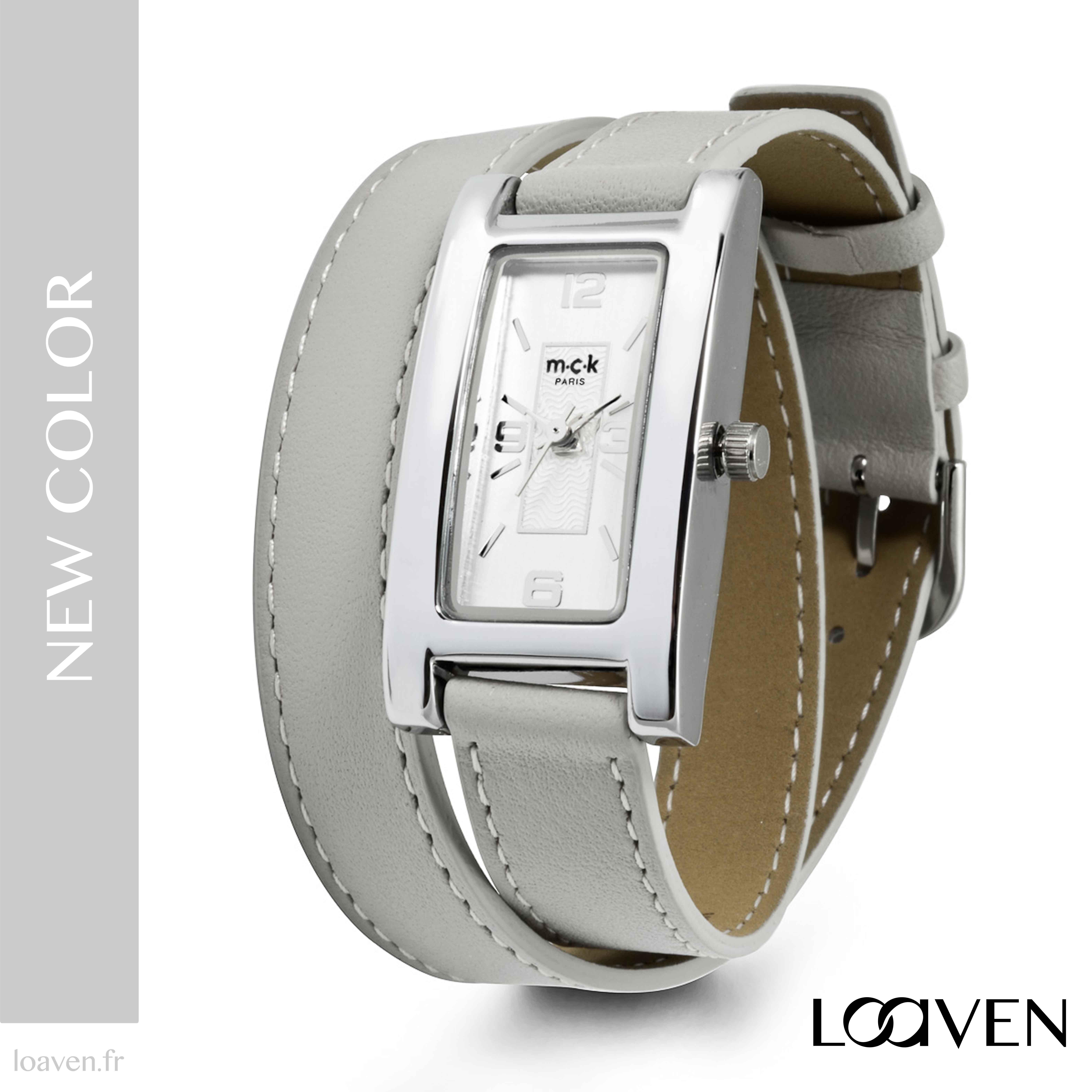 montre femme double bracelet cuir noir