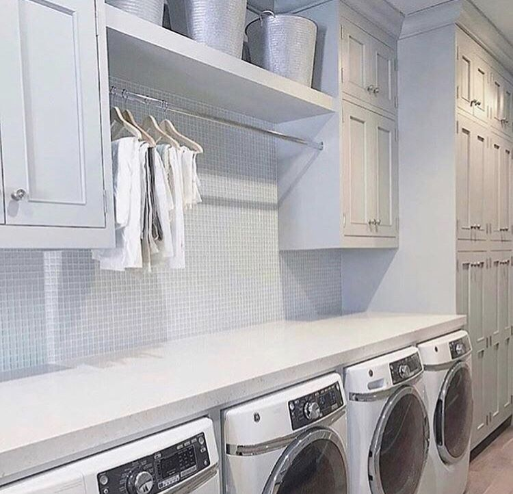 Laundry Room Over Washer Dryer Clothes Hanging Rod Above Window