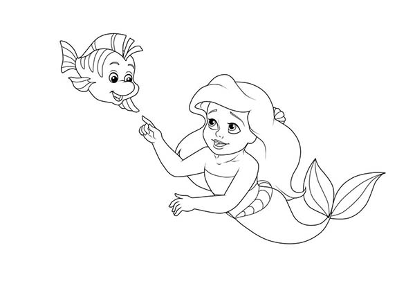 Little Ariel And Baby Flounder Coloring Page Coloring Sun Ariel Coloring Pages Disney Drawings Sketches Coloring Pages