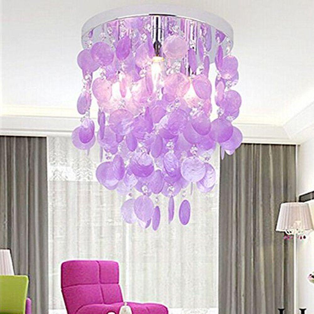 Siminda Girl S Bedroom Crystal Shell Pendant Lamp Chandelier Lighting Ceiling Light Purple Pendant Lamps Bedroom Ceiling Lights Bedroom Ceiling Light