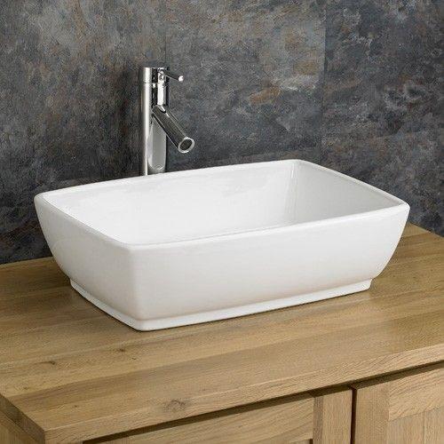 Bathroom Countertop Basin Large White Rectangular 480mm X