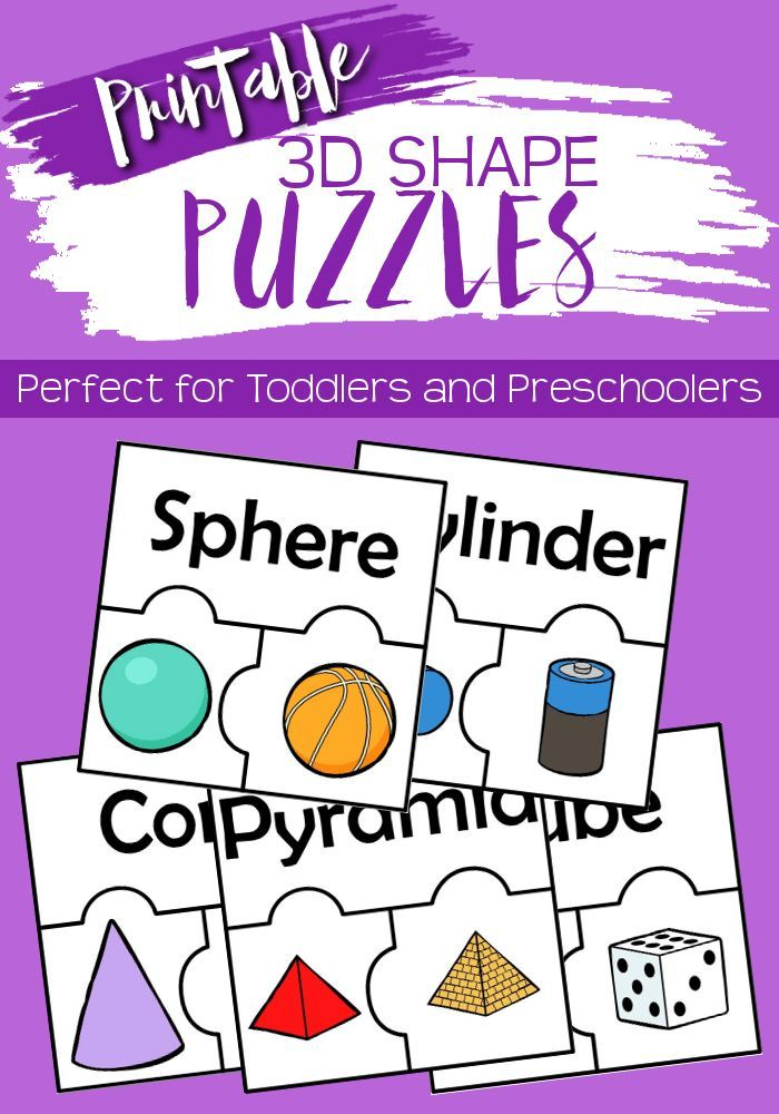 Printable 3D Shape Puzzles Shapes for Kids