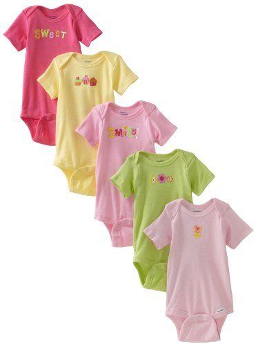 6d53a7b38 Gerber Baby-Girls Newborn 5 Pack Solid Onesie, « Clothing Impulse | Girl