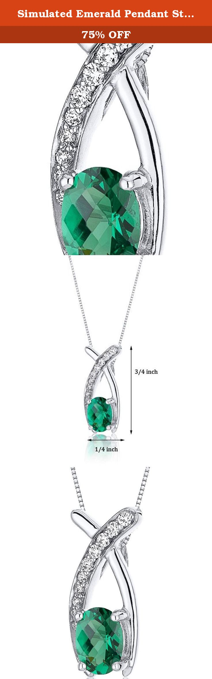 Simulated Emerald Pendant Sterling Silver Oval Shape with CZ Accents. Center Stone: Simulated Emerald, Oval Cut with Checkerboard Top, 7 x 5 mm, 0.75 carats, Rich Forest Green Hue with Brilliant Sparkle. Side Stones: 10 pieces Super Sparkling Machine Cut White Cubic Zirconia. Pendant: 1.50 grams, Pure Sterling Silver with .925 stamp, Pendant features exceptional Design, Craftsmanship anding. Perfect gift for Mothers Day, Birthdays, Valentines Day, Graduation, Christmas or just about any...