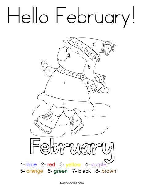 Hello February Coloring Page | Engelska