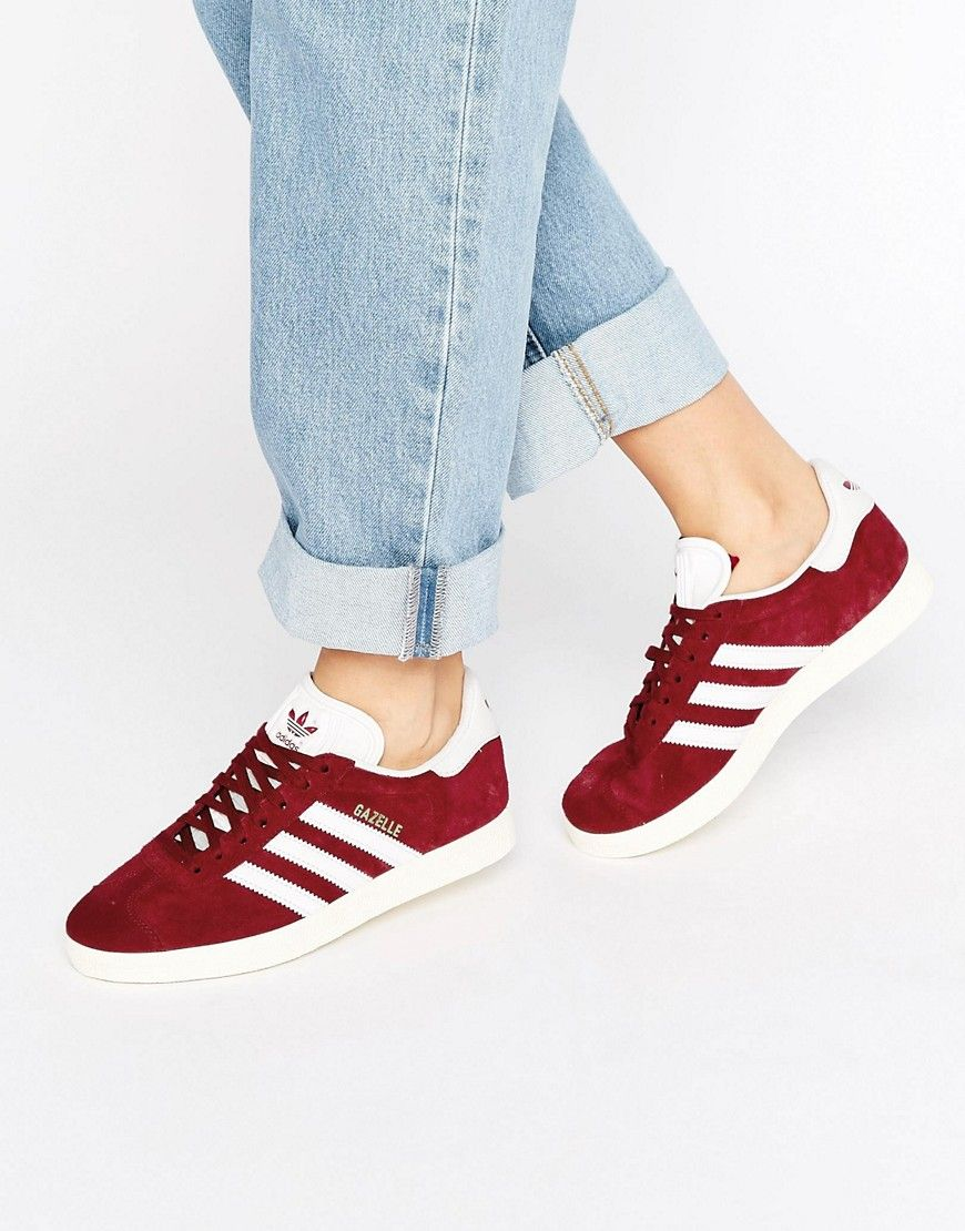 Buy it now. adidas Originals Burgundy Suede Gazelle Unisex Trainers - Red.  Trainers by