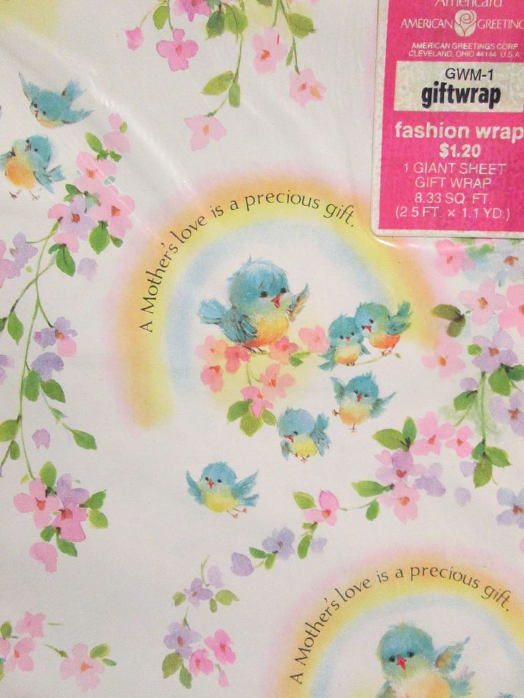 Vtg blue bird mothers love gift wrap american greetings wrapping collectible gift wrapping paper ebay m4hsunfo