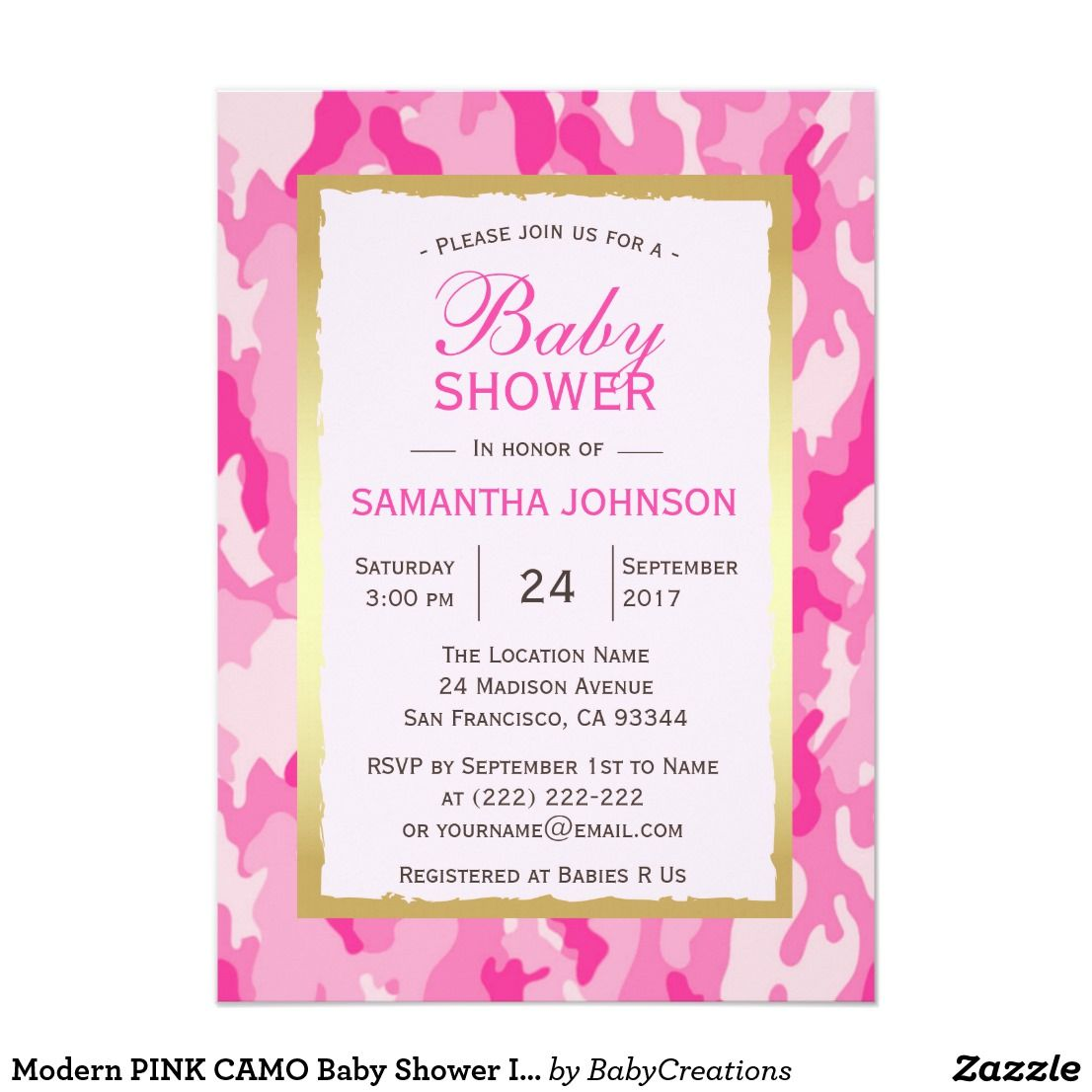 Modern PINK CAMO Baby Shower Invitations - Girl Lovely modern and ...
