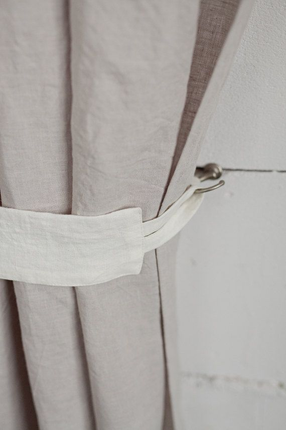 Linen Curtain Tie Back Stonewashed White Ties 9 Colours Custom