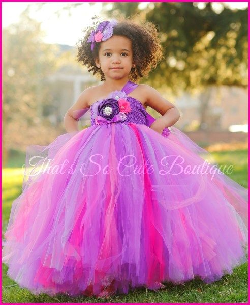 Radiant Orchid and Pink Flower Girl Tutu Dress-purple ... - photo #3