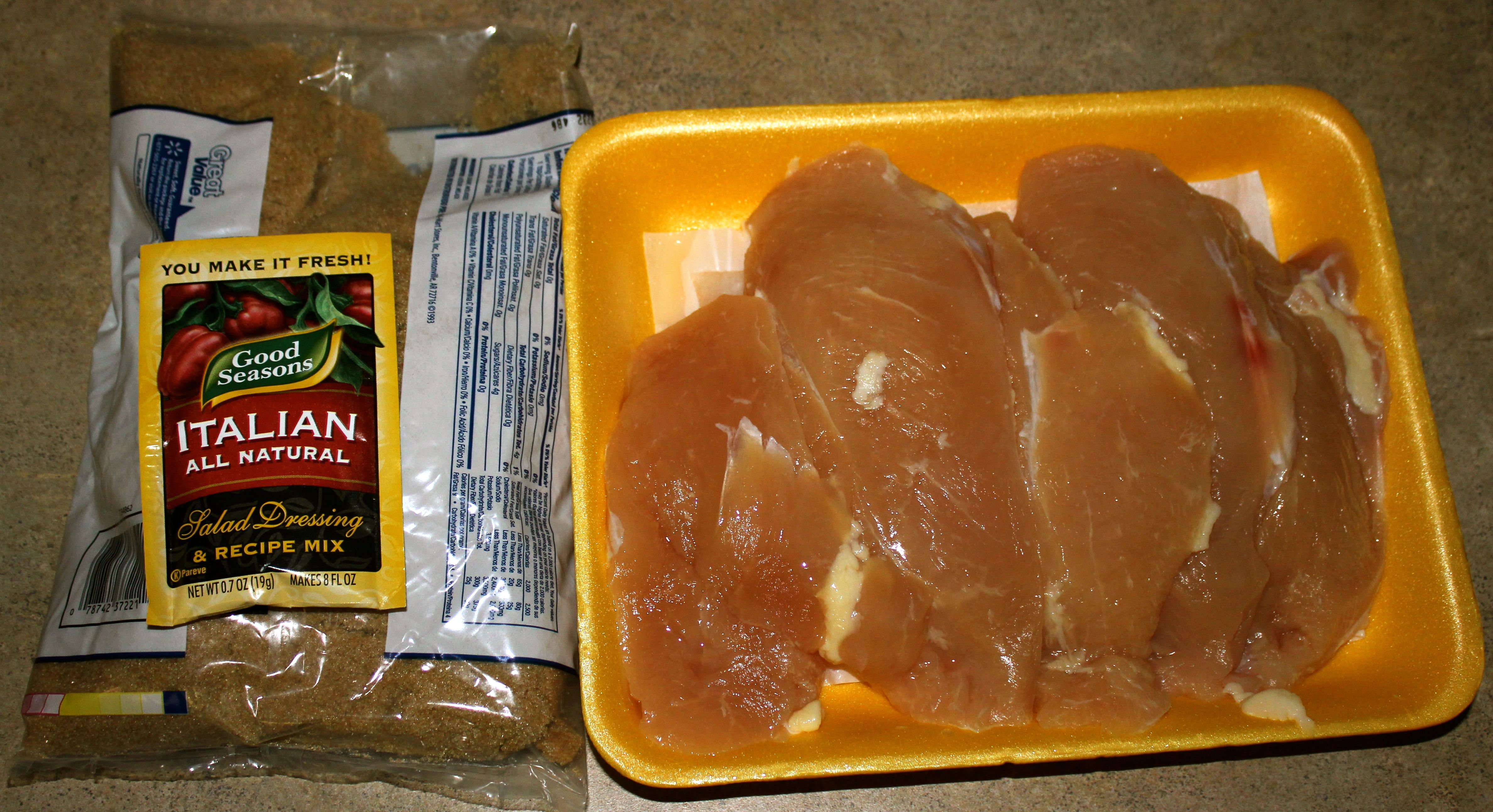 Italian Dressing Caramelized Chicken (in the oven for 25min) . . . A recipe for 2-3lbs chicken, so I'd have to halve the recipe for hubby's and my normal 1lb of chicken, but it still sounds really simple and delicious!