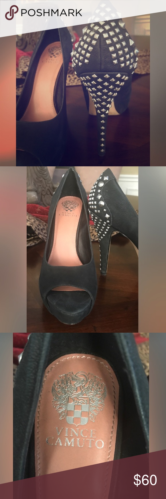 Vince Camuto Black Studded heels Vince Camuto Black Studded heels in excellent condition, box included. Vince Camuto Shoes Heels