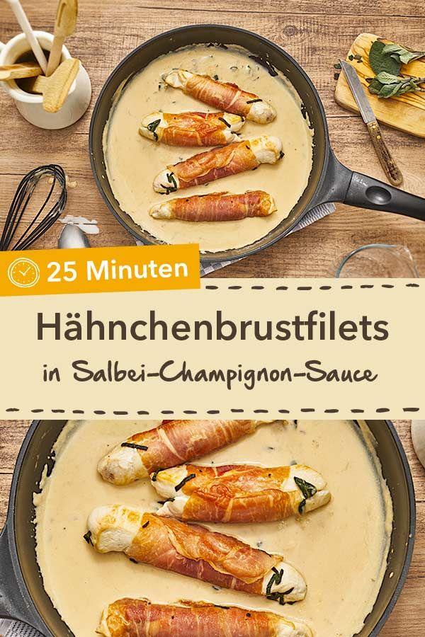 Hähnchenbrustfilets in Salbei-Champignon-Sauce - umwickelt ...