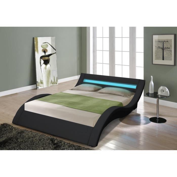 venus lit adulte avec led 160x200cm noir sommier inclus achat vente structure de lit venus. Black Bedroom Furniture Sets. Home Design Ideas