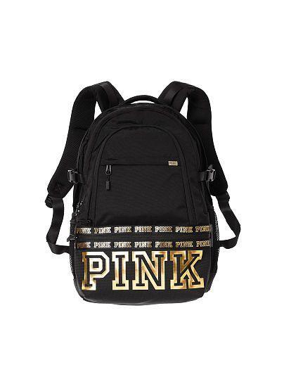 9cb3c74b81 Black and gold Victoria s Secret PINK backpack ❤