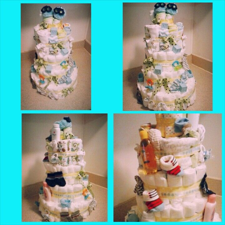 Baby boy diaper cake for a frends baby shower.