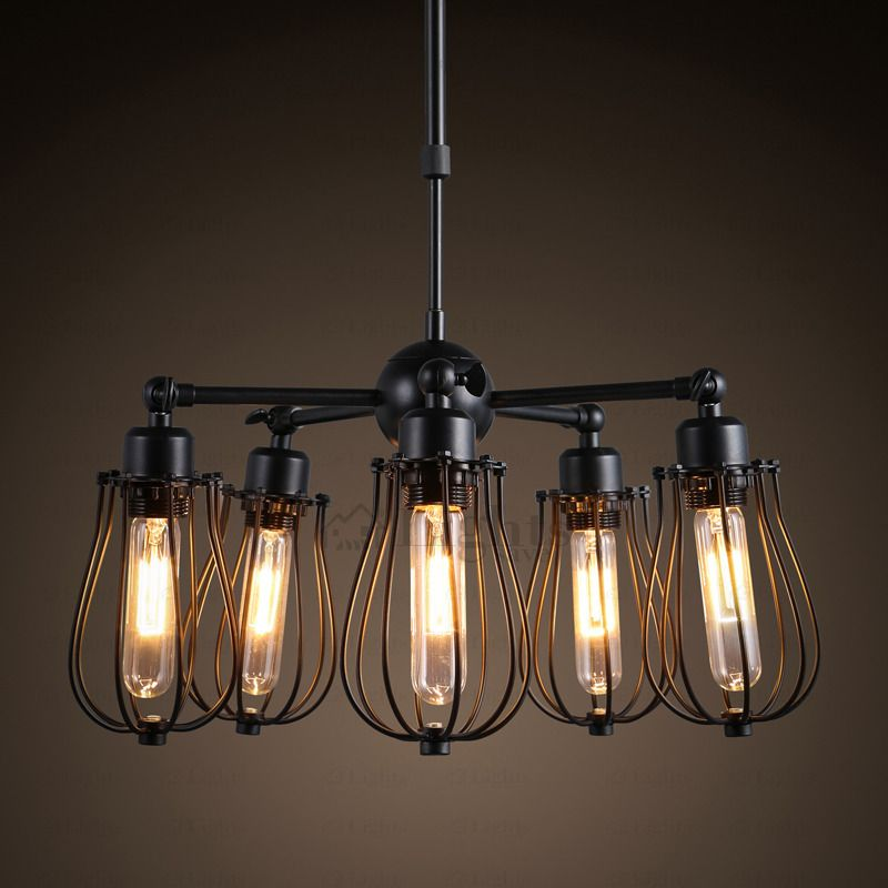Primitive 5 Light Fan Shaped Industrial Light Fixtures Black