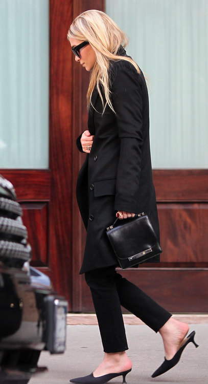 Ashley Olsen in all black, wearing The Row.