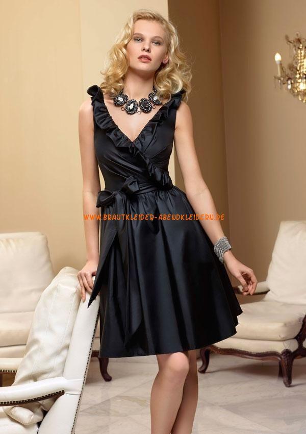 Billige Abendkleider schwarz kurz aus Satin A-Linie 2013 | moderne ...