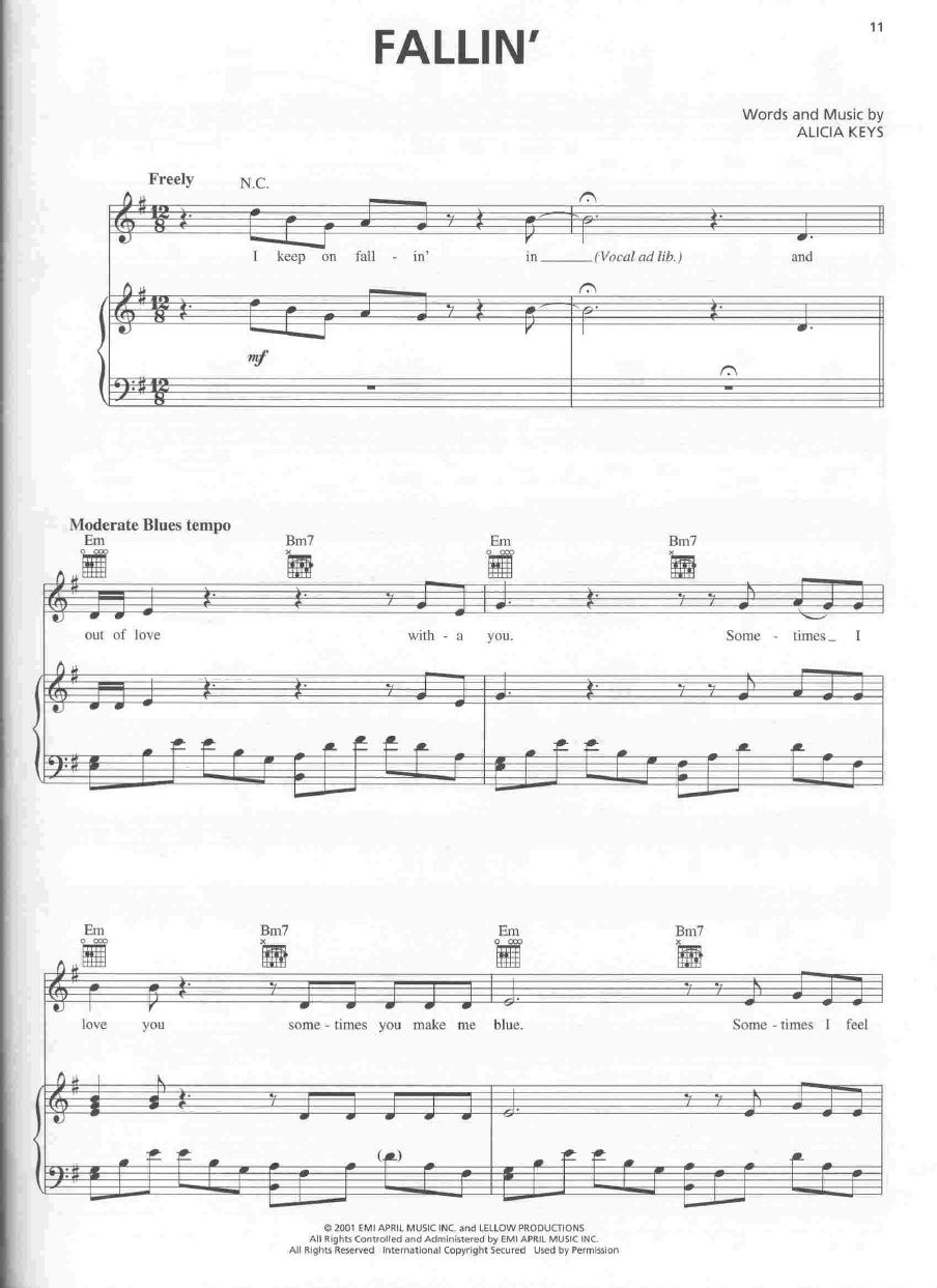 Alicia Keys Fallin Piano Sheet Music Scribd In 2020 Alicia