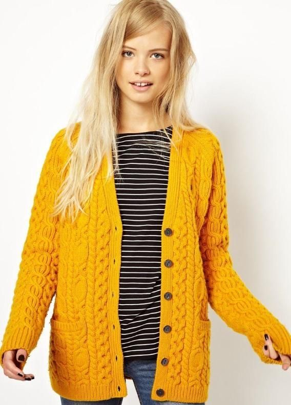 My beautiful mustard (more mustard than the photo) Aran cardigan ...