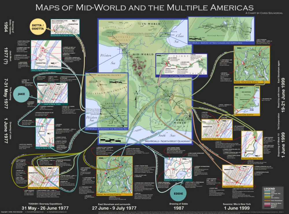 Maps Of Mid World And The Multiple Americas High Resolution Poster Map World The Dark Tower Series