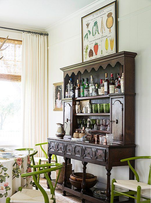 Inside A Bedding Designers Charming Texas Farmhouse Bar Set UpFarmhouse Dining RoomsBar