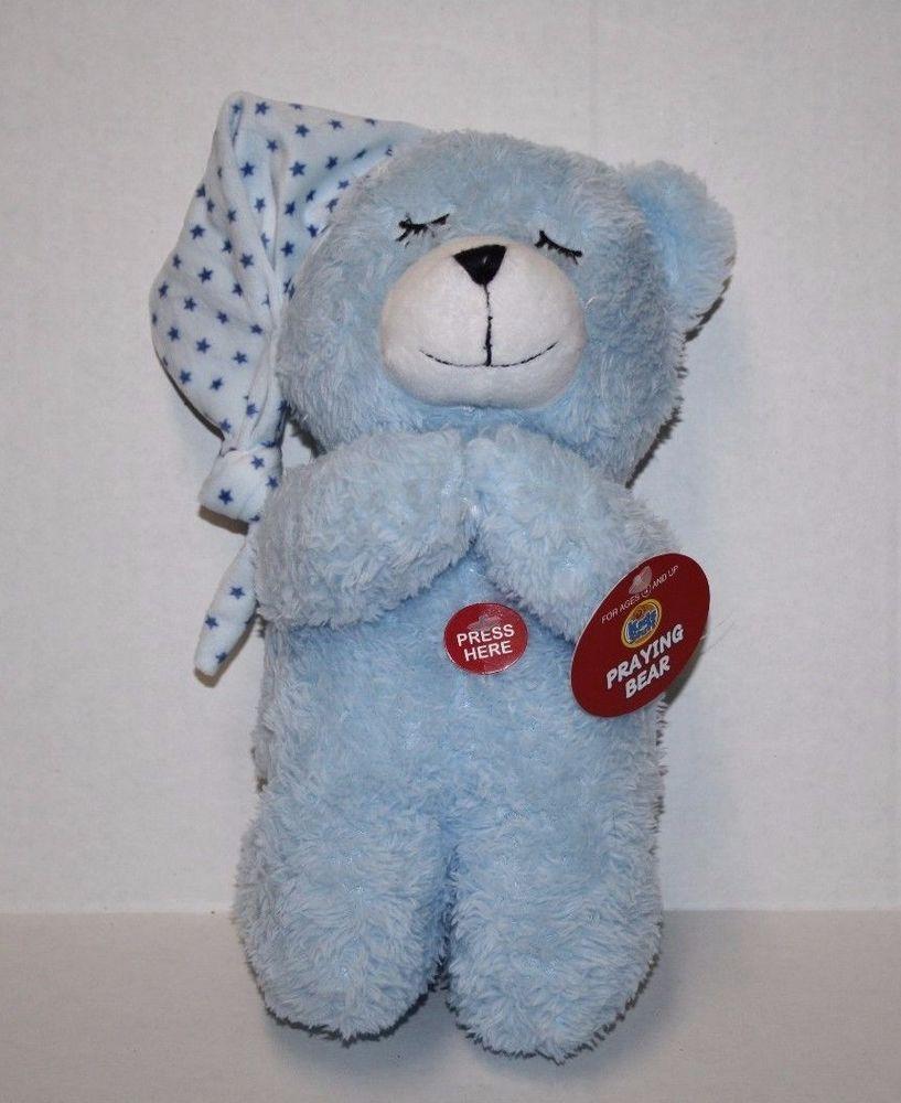 Homerbest Praying Teddy Bear 11 Blue White Plush Stuffed Kneeling Prays Stuffed Homerbest Teddy Bear Picnic Teddy Bear Bear