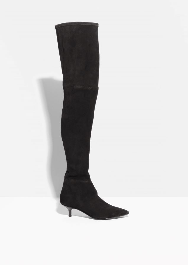 a7443493173   Other Stories image 1 of Kitten Heel Over The Knee Boots in Black ...