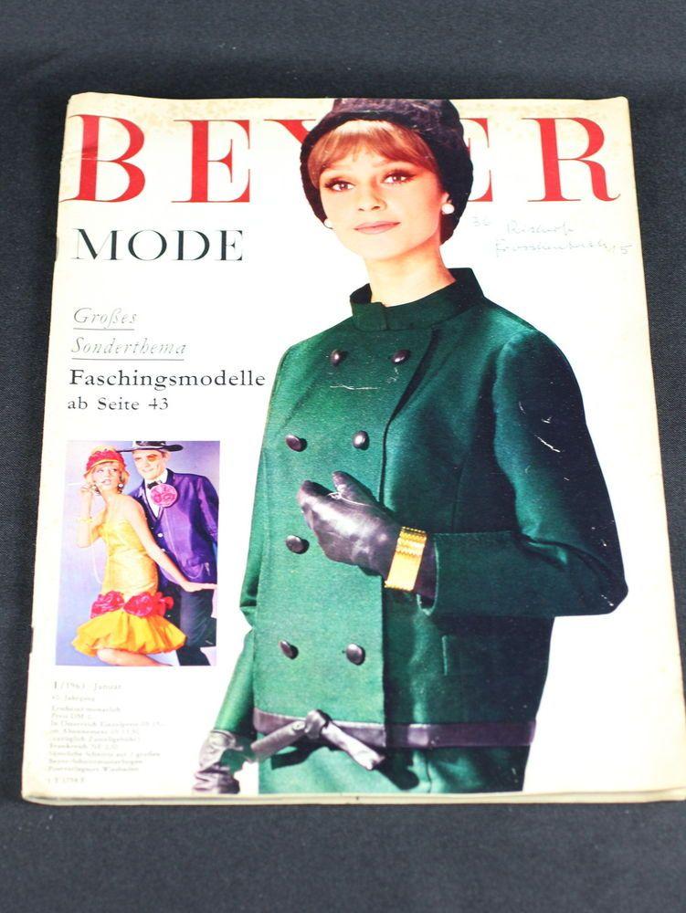 Modezeitschrift Beyer Mode Januar 1963 2 Schnittmuster + Anleitung ...