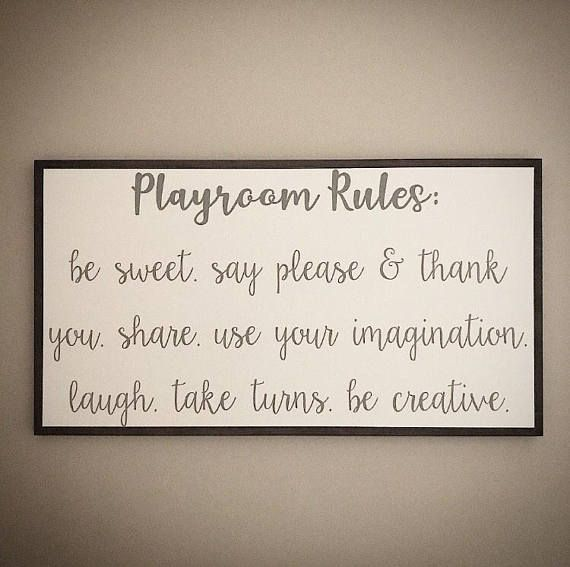 Custom Wood Playroom Rules Sign - Children's Playroom Rules Sign - Handcrafted 20x36 Wooden Kid's Playroom Sign - Custom Wood Playroom Signs