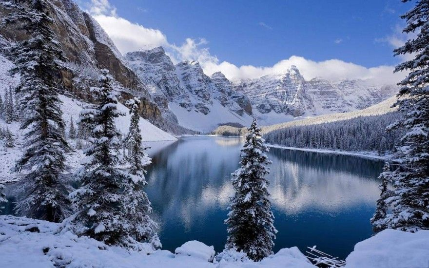 Moraine Lake At Winter Earth Pictures Winter Scenery