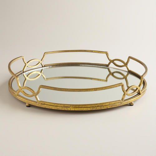 Gold Mirrored Tabletop Tray World Market Gold Tray Mirror Tray Home Decor