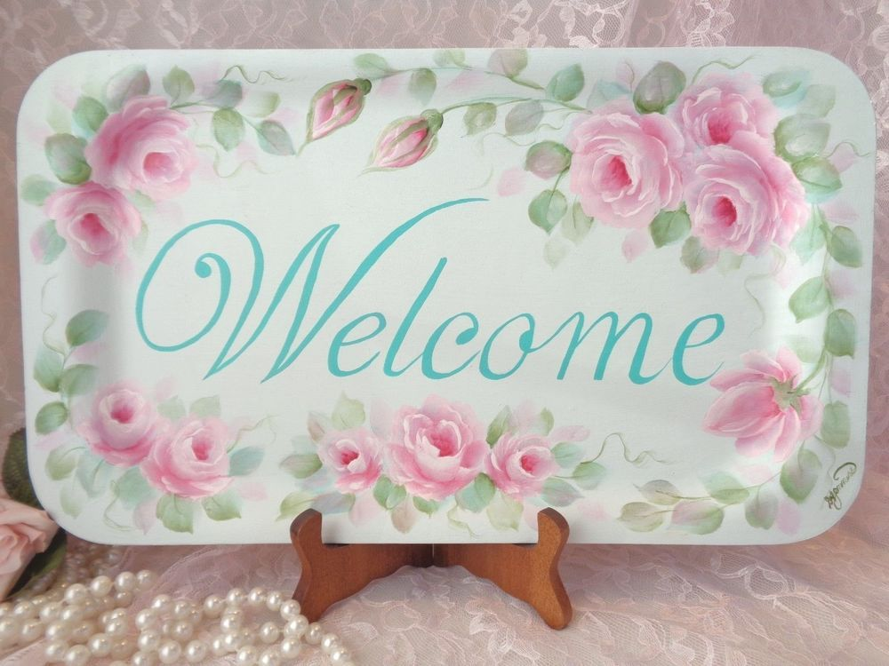 PALE AQUA WELCOME PLAQUE hp roses chic shabby vintage cottage hand painted pink #HANDPAINTED #SHABBYCHIC