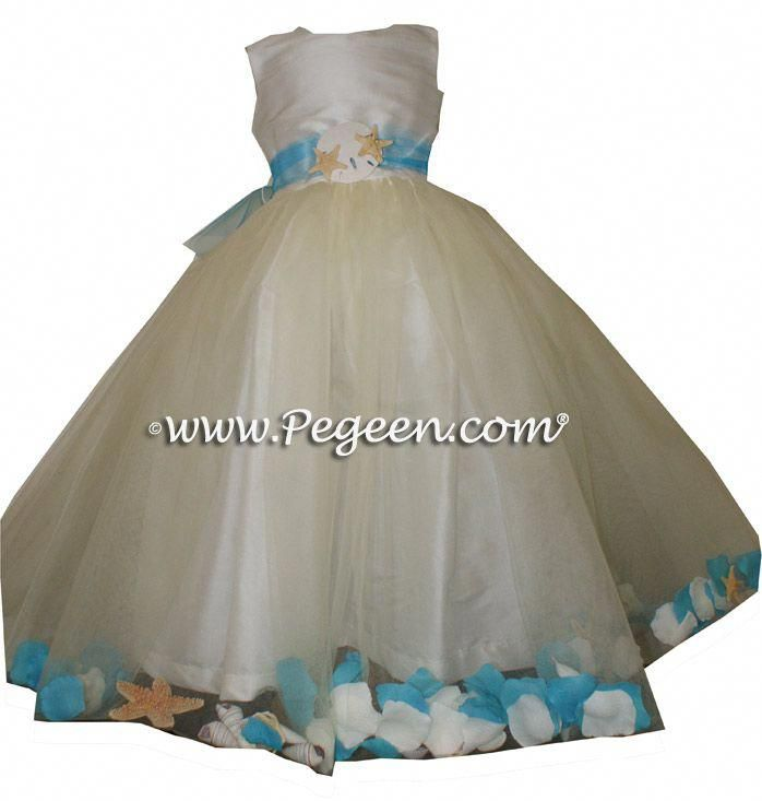 5345730964e Beach Themed Weddings - add shells in your flower girl dresses! Love the  SandDollar and starfish waist sash