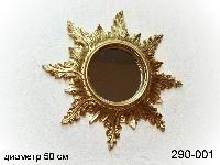 Зеркало настенное золотое,д=50 см, 3769,-