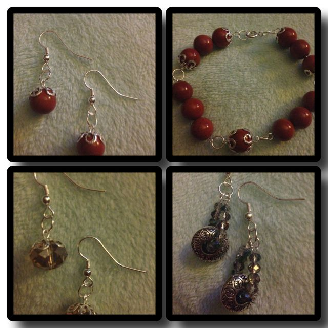 Round burnt red bead with silver accent bracelet and earring set with random earrings set solos