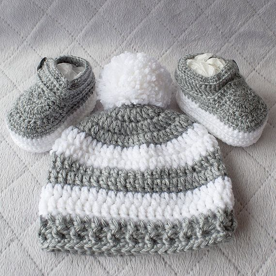138d65782 Baby Boy Set, Crochet Baby Boy Hat and Booties Set, Pom-pom Hat, Boy ...