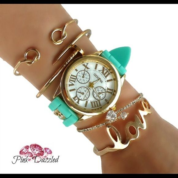 Mint Love Watch Gold Arm Candy Set Set Includes: 1 Watch and 4 Bracelets Color: Mint, Gold Material: Copper, Alloy, Rhinestone, Lead & Nickel Free, Silicone Jewelry Bracelets
