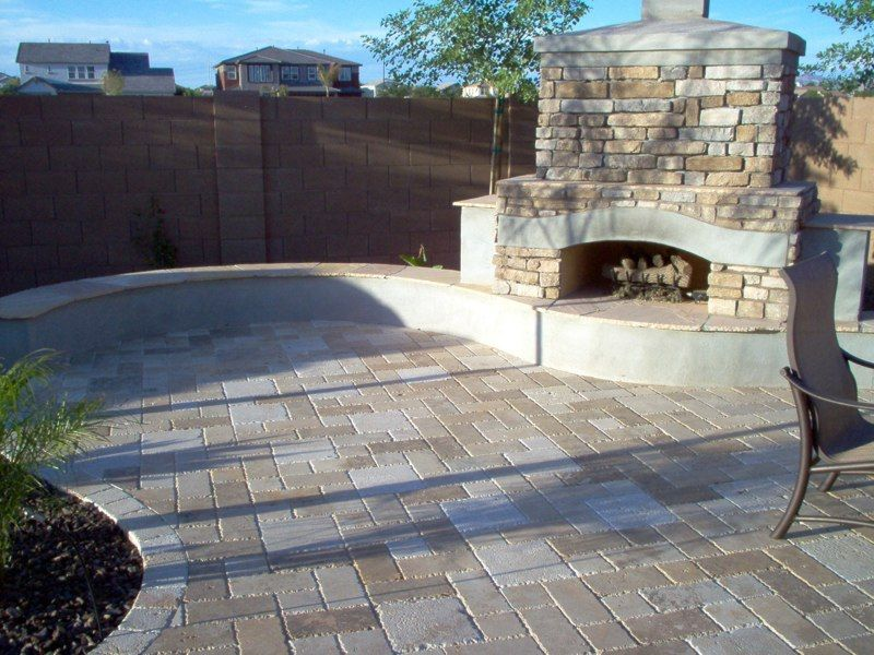 Attractive Backyard Ideas For Artifical Grass And Patio With Fireplace   Travertine  Pavers